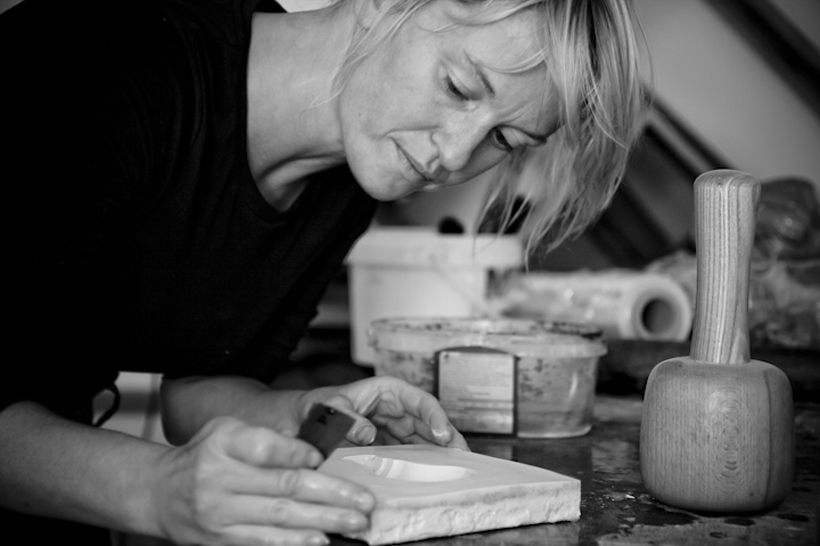 Artist Tassy Thompson in her studio